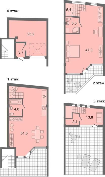Планировка квартиры Б2 в Солнечный