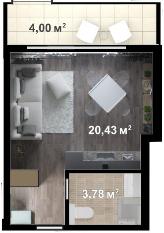Планировка квартиры Б109 в новостройке ЖК Ласточкино Гнездо (Гаспра)