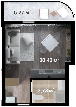 Планировка квартиры Б209 в новостройке ЖК Ласточкино Гнездо (Гаспра)
