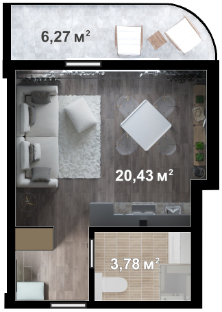 Планировка квартиры Б409 в новостройке ЖК Ласточкино Гнездо (Гаспра)
