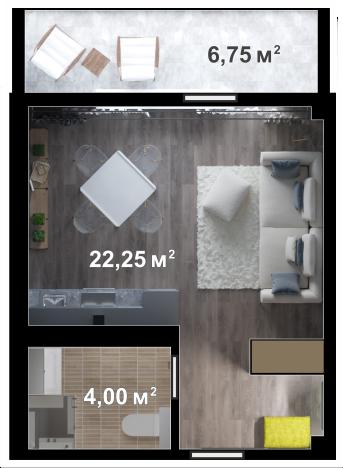 Планировка квартиры Б408 в новостройке ЖК Ласточкино Гнездо (Гаспра)