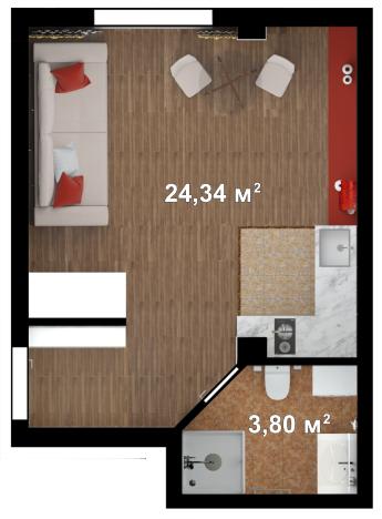 Планировка квартиры Б210 в новостройке ЖК Ласточкино Гнездо (Гаспра)