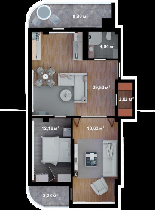 Планировка квартиры Б306 в новостройке ЖК Ласточкино Гнездо (Гаспра)