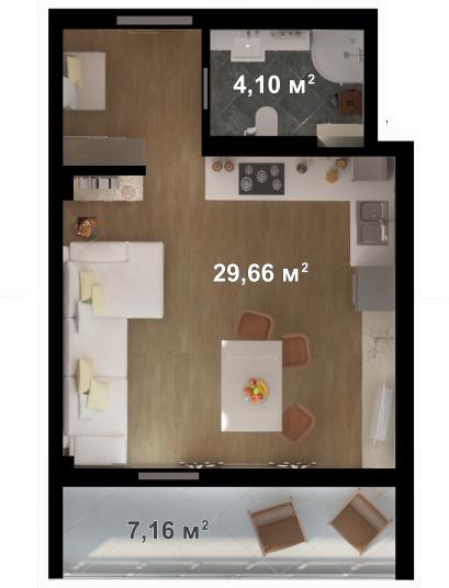 Планировка квартиры Б202 в новостройке ЖК Ласточкино Гнездо (Гаспра)