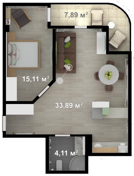Планировка квартиры А504 в новостройке ЖК Ласточкино Гнездо (Гаспра)