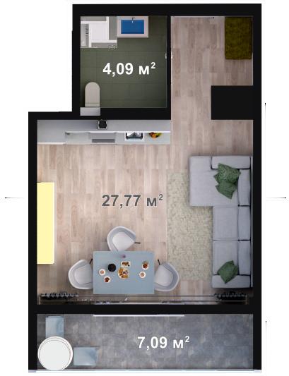 Планировка квартиры Б105 в новостройке ЖК Ласточкино Гнездо (Гаспра)