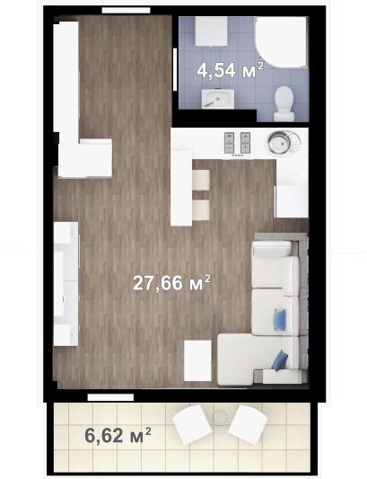 Планировка квартиры Б104 в новостройке ЖК Ласточкино Гнездо (Гаспра)