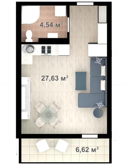 Планировка квартиры Б203 в новостройке ЖК Ласточкино Гнездо (Гаспра)