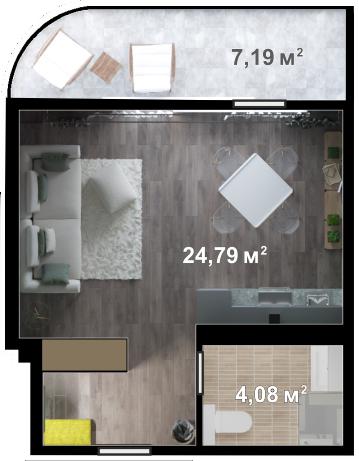 Планировка квартиры Б407 в новостройке ЖК Ласточкино Гнездо (Гаспра)