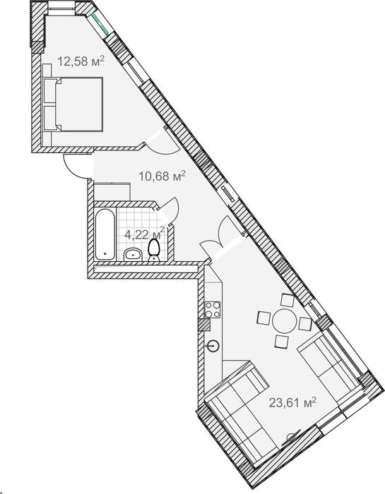 Планировка квартиры 3 в Солнечный Дарсан