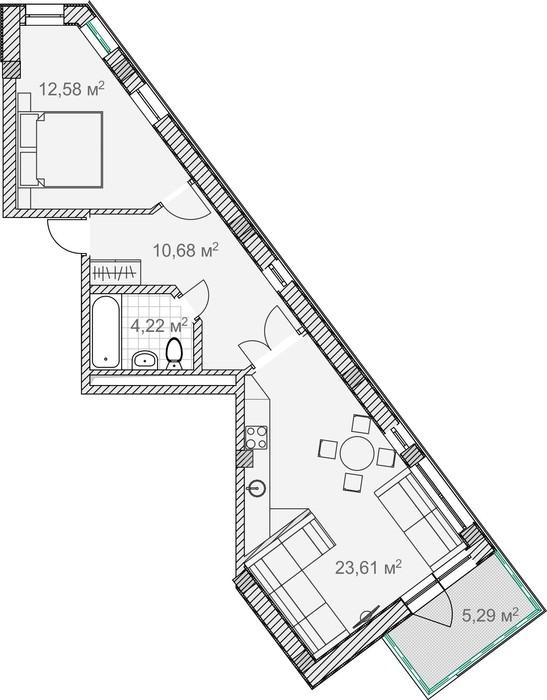 Планировка квартиры 9 в Солнечный Дарсан