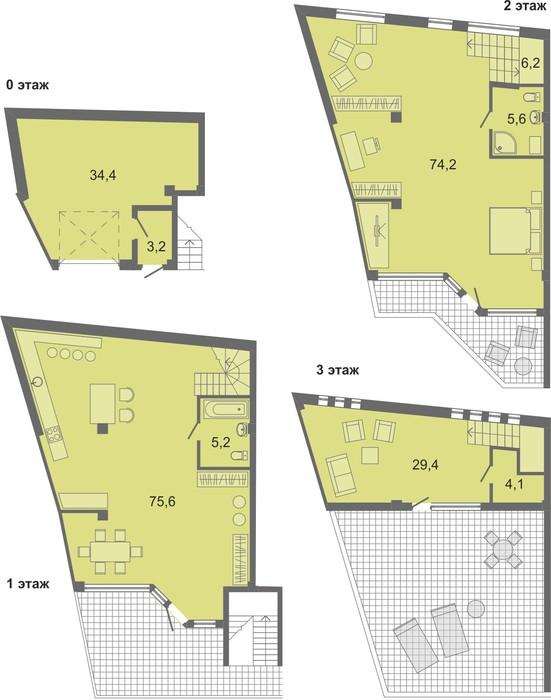 Планировка квартиры Б1 в Солнечный