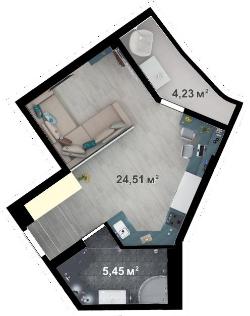 Планировка квартиры А402 в новостройке ЖК Ласточкино Гнездо (Гаспра)