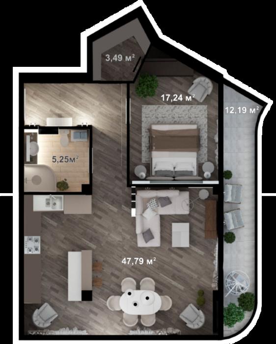 Планировка квартиры А207 в новостройке ЖК Ласточкино Гнездо (Гаспра)