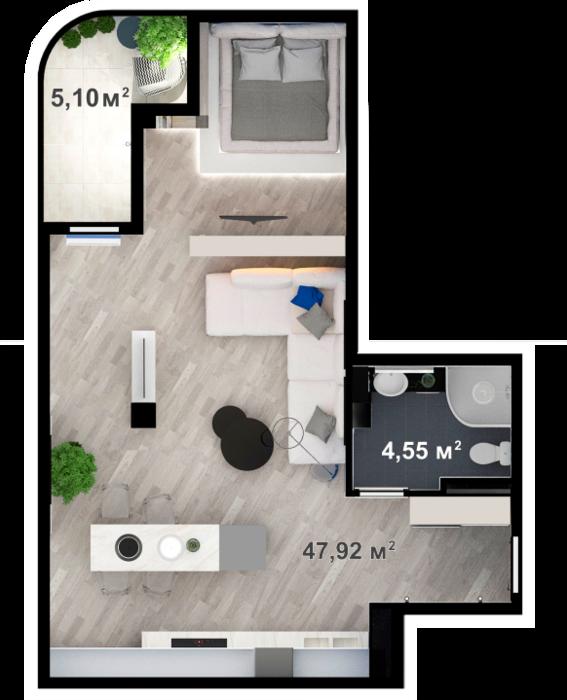 Планировка квартиры А301 в новостройке ЖК Ласточкино Гнездо (Гаспра)