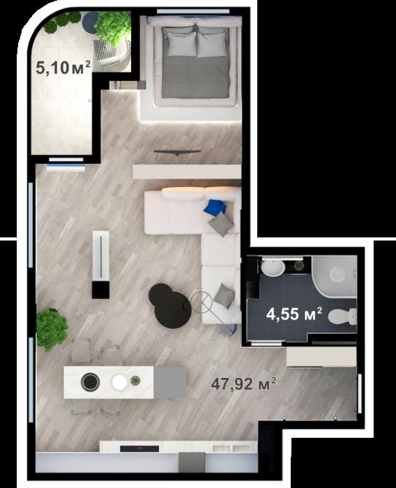 Планировка квартиры А201 в новостройке ЖК Ласточкино Гнездо (Гаспра)
