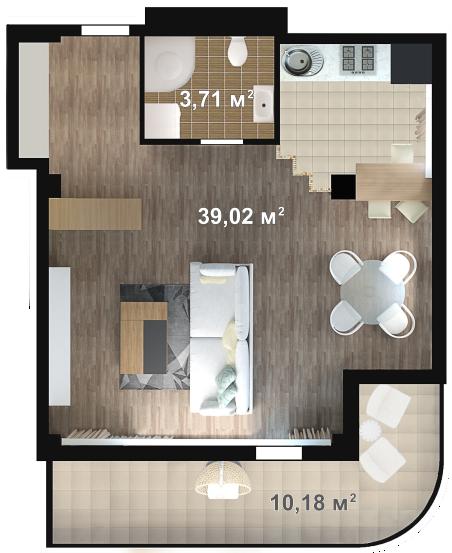 Планировка квартиры Б401 в новостройке ЖК Ласточкино Гнездо (Гаспра)