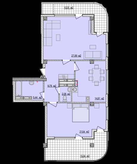 Планировка квартиры Б801 в новостройке ЖК Ласточкино Гнездо (Гаспра)