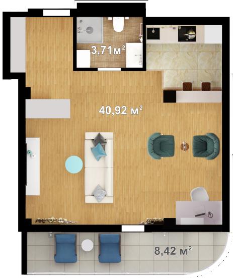 Планировка квартиры Б101 в новостройке ЖК Ласточкино Гнездо (Гаспра)