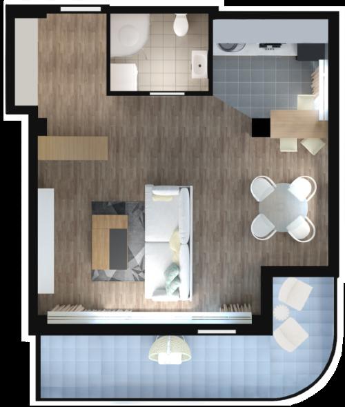 Планировка квартиры Б701 в новостройке ЖК Ласточкино Гнездо (Гаспра)