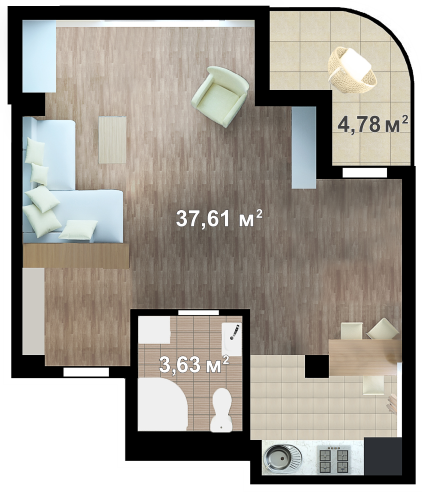 Планировка квартиры Б710 в новостройке ЖК Ласточкино Гнездо (Гаспра)