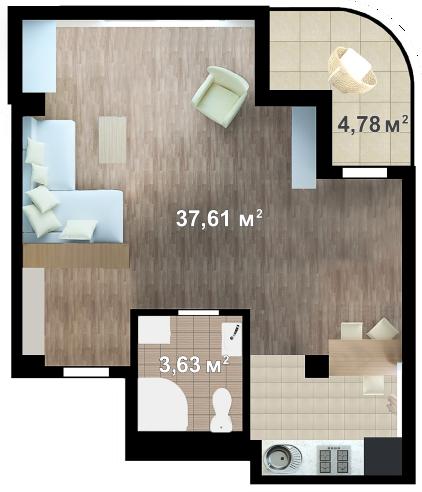 Планировка квартиры Б610 в новостройке ЖК Ласточкино Гнездо (Гаспра)