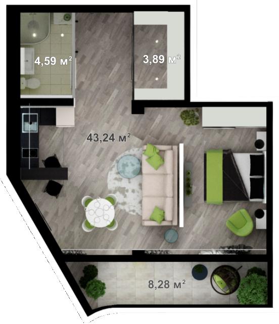 Планировка квартиры А606 в новостройке ЖК Ласточкино Гнездо (Гаспра)
