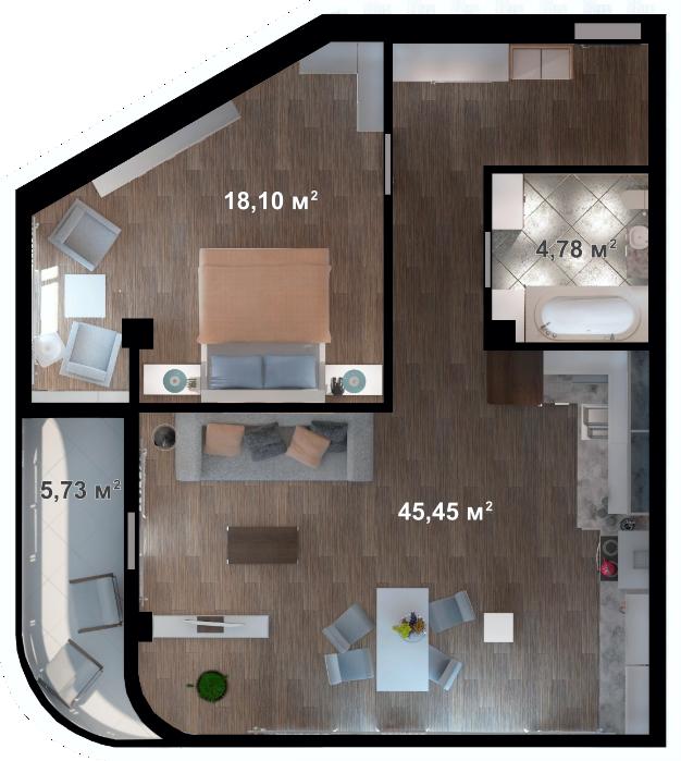 Планировка квартиры А208 в новостройке ЖК Ласточкино Гнездо (Гаспра)