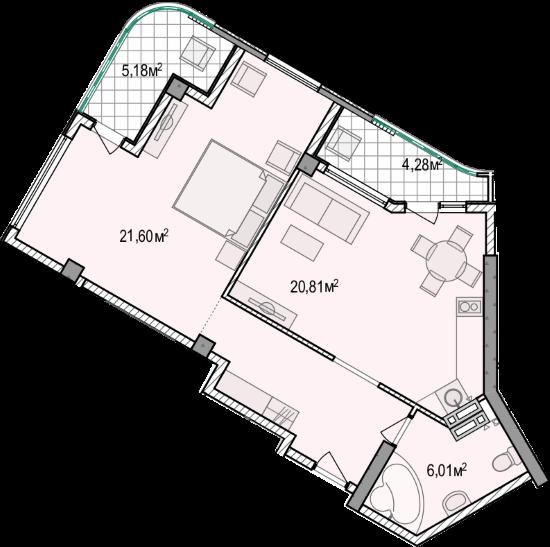 Планировка квартиры А701 в новостройке ЖК Ласточкино Гнездо (Гаспра)