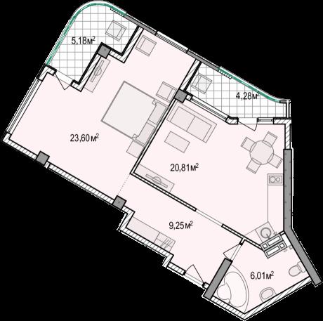 Планировка квартиры А801 в новостройке ЖК Ласточкино Гнездо (Гаспра)