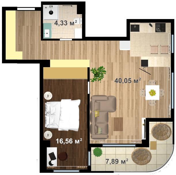 Планировка квартиры А705 в новостройке ЖК Ласточкино Гнездо (Гаспра)