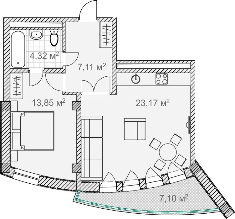 Планировка квартиры 4 в Солнечный Дарсан