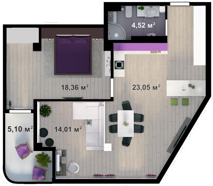Планировка квартиры А409 в новостройке ЖК Ласточкино Гнездо (Гаспра)