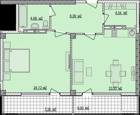 Планировка квартиры Б803 в новостройке ЖК Ласточкино Гнездо (Гаспра)