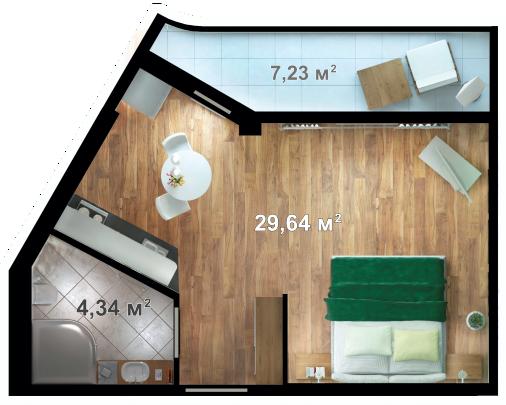Планировка квартиры А203 в новостройке ЖК Ласточкино Гнездо (Гаспра)