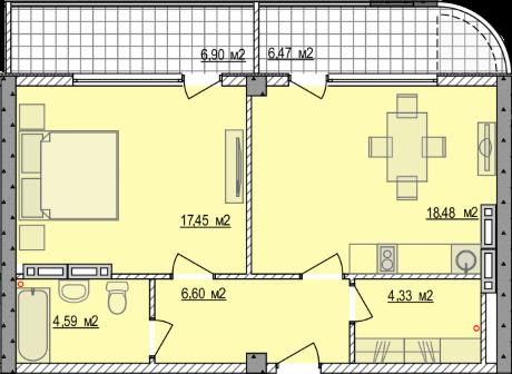 Планировка квартиры Б805 в новостройке ЖК Ласточкино Гнездо (Гаспра)